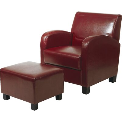 Chesterhill Armchair and Ottoman Color: Crimson Red