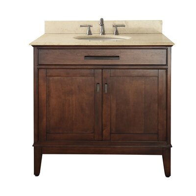 Chesterville 36 Single Bathroom Vanity Set Top Finish: Galala Beige, Base Finish: Tobacco