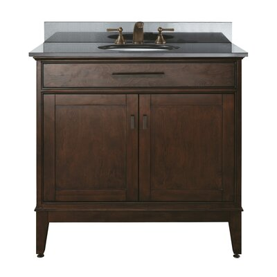 Chesterville 36 Single Bathroom Vanity Set Base Finish: Tobacco, Top Finish: Black Granite