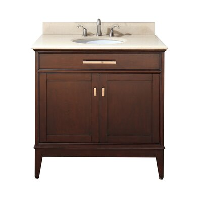 Chesterville 36 Single Bathroom Vanity Set Base Finish: Light Espresso, Top Finish: Carrera White