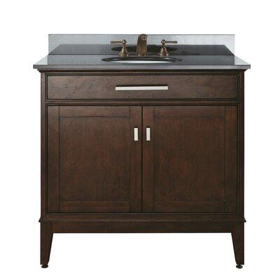 Chesterville 36 Single Bathroom Vanity Set Base Finish: Light Espresso, Top Finish: Black Granite