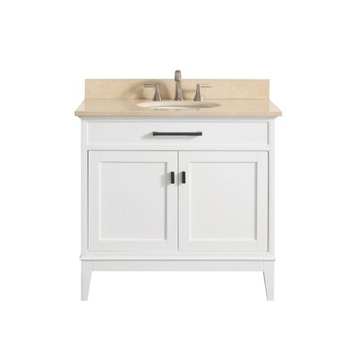 Chesterville 36 Single Bathroom Vanity Set Base Finish: White, Top Finish: Galala Beige