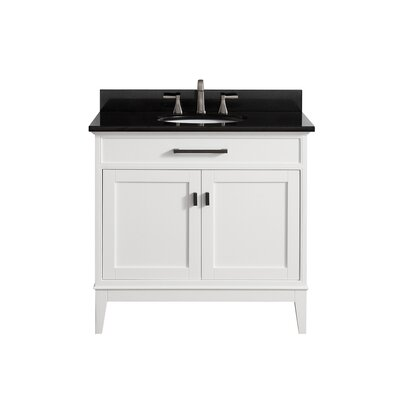 Chesterville 36 Single Bathroom Vanity Set Base Finish: White, Top Finish: Black Granite