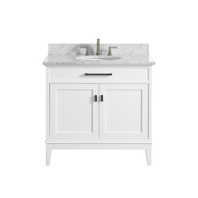 Chesterville 36 Single Bathroom Vanity Set Top Finish: Carrera White, Base Finish: White