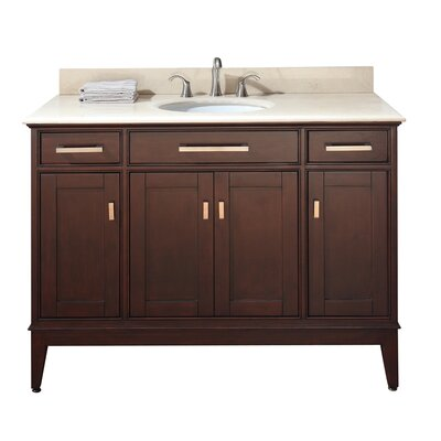 Chesterville 49 Single Bathroom Vanity Set Base Finish: Light Espresso, Top Finish: Galala Beige