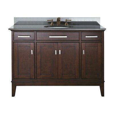 Chesterville 49 Single Bathroom Vanity Set Base Finish: Light Espresso, Top Finish: Black Granite