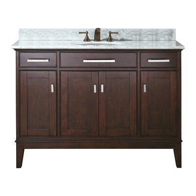 Chesterville 49 Single Bathroom Vanity Set Base Finish: Light Espresso, Top Finish: Carrera White