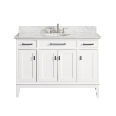 Chesterville 49 Single Bathroom Vanity Set Top Finish: Carrera White, Base Finish: White