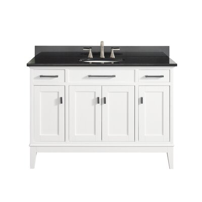 Chesterville 49 Single Bathroom Vanity Set Top Finish: Black Granite, Base Finish: White
