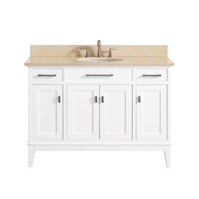 Chesterville 49 Single Bathroom Vanity Set Base Finish: White, Top Finish: Galala Beige