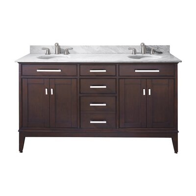Chesterville 61 Double Bathroom Vanity Set Base Finish: Light Espresso, Top Finish: Carrera White