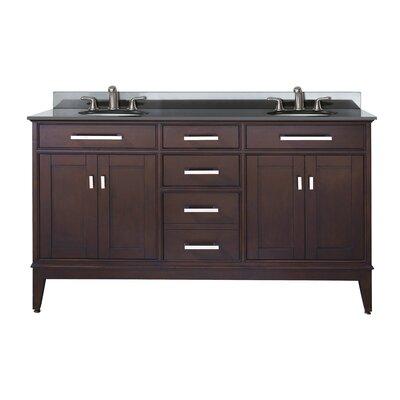 Chesterville 61 Double Bathroom Vanity Set Top Finish: Black Granite, Base Finish: Light Espresso