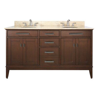 Chesterville 61 Double Bathroom Vanity Set Base Finish: Tobacco, Top Finish: Galala Beige