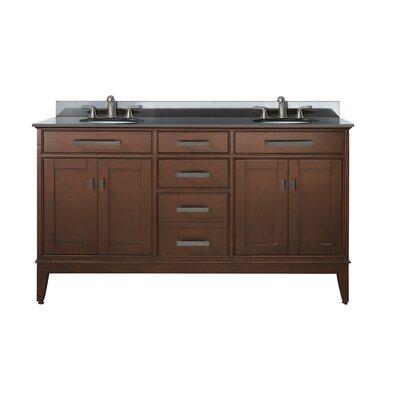 Chesterville 61 Double Bathroom Vanity Set Base Finish: Tobacco, Top Finish: Black Granite