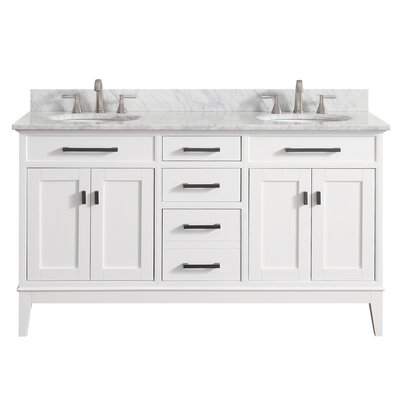 Chesterville 61 Double Bathroom Vanity Set Top Finish: Carrera White, Base Finish: White