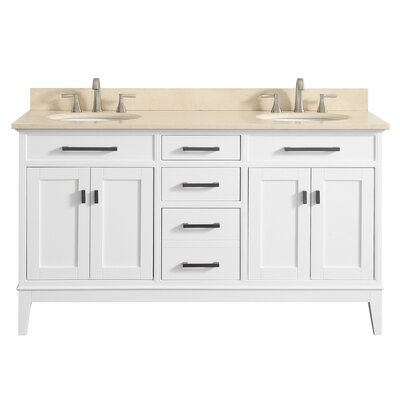Chesterville 61 Double Bathroom Vanity Set Top Finish: Galala Beige, Base Finish: White