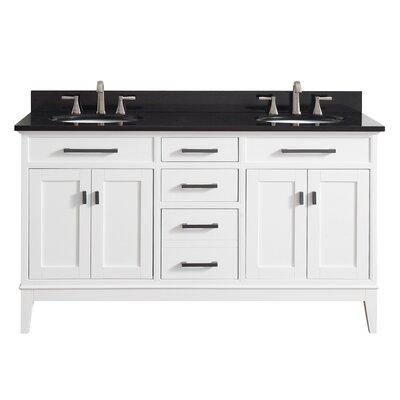 Chesterville 61 Double Bathroom Vanity Set Top Finish: Black Granite, Base Finish: White