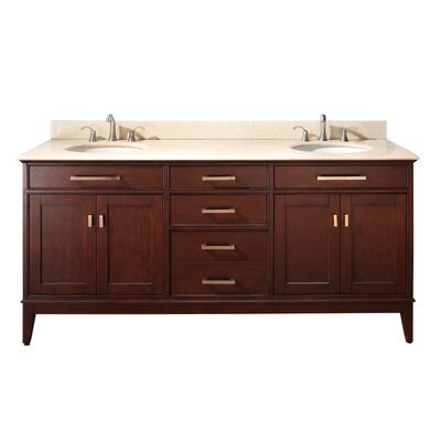 Chesterville 72 Double Bathroom Vanity Set Base Finish: White, Top Finish: Carrera White