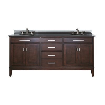 Chesterville 72 Double Bathroom Vanity Set Base Finish: Light Espresso, Top Finish: Black Granite