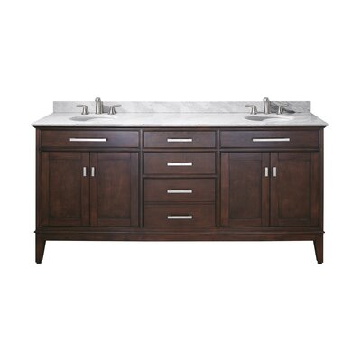 Chesterville 72 Double Bathroom Vanity Set Base Finish: Light Espresso, Top Finish: Carrera White