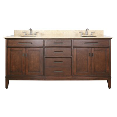Chesterville 72 Double Bathroom Vanity Set Base Finish: Tobacco, Top Finish: Galala Beige