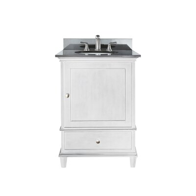 Chippewa 25 Bathroom Vanity Set Top Finish: Black Granite, Base Finish: White
