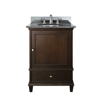 Chippewa 25 Bathroom Vanity Set Base Finish: Walnut, Top Finish: Black Granite
