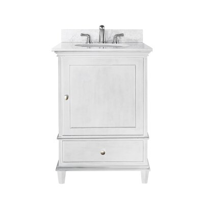 Chippewa 25 Bathroom Vanity Set Base Finish: White, Top Finish: Carrera Marble