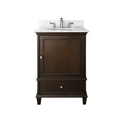Chippewa 25 Bathroom Vanity Set Base Finish: Walnut, Top Finish: Carrera Marble