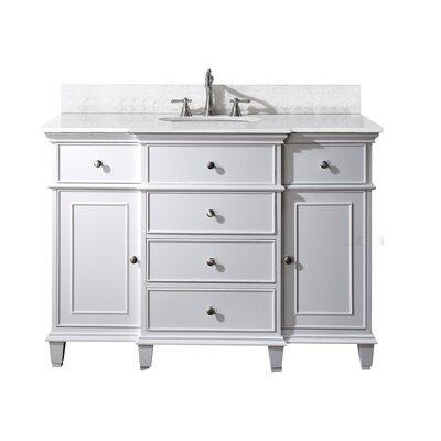 Chippewa 49 Bathroom Vanity Set Top Finish: Carrera Marble, Base Finish: White