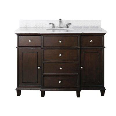 Chippewa 49 Bathroom Vanity Set Base Finish: Walnut, Top Finish: Carrera Marble