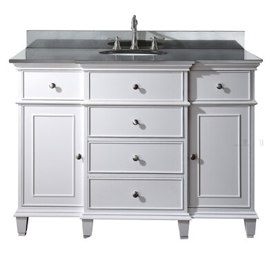Chippewa 49 Bathroom Vanity Set Base Finish: White, Top Finish: Black Granite
