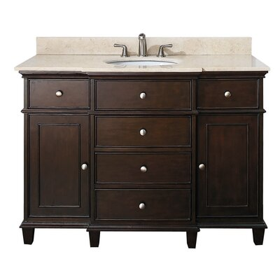 Chippewa 49 Bathroom Vanity Set Base Finish: Walnut, Top Finish: Galala Beige Marble