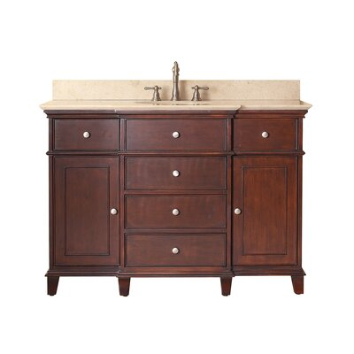 Chippewa 49 Bathroom Vanity Set Base Finish: Walnut, Top Finish: Beige Marble