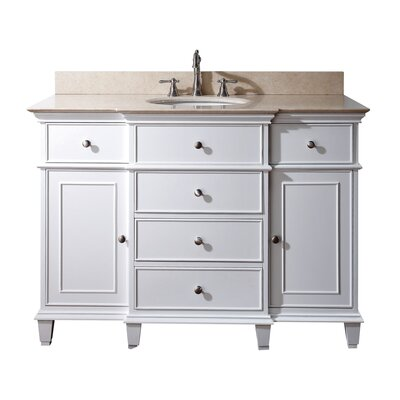 Chippewa 49 Bathroom Vanity Set Base Finish: White, Top Finish: Galala Beige Marble