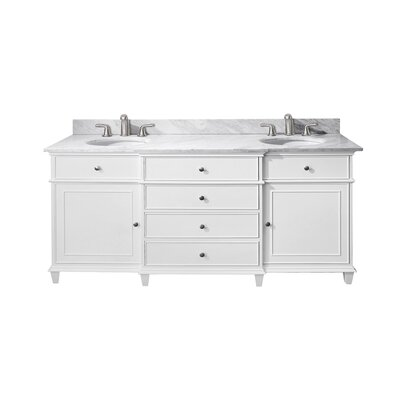 Chippewa 72 Double Bathroom Vanity Set Base Finish: White, Top Finish: Carrera Marble