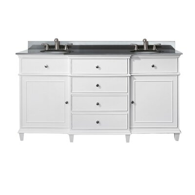 Chippewa 61 Bathroom Vanity Set Top Finish: Black Granite, Base Finish: White