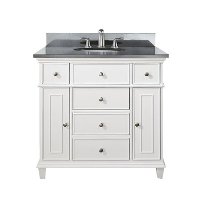Chippewa 37 Bathroom Vanity Set Top Finish: Black Granite, Base Finish: White