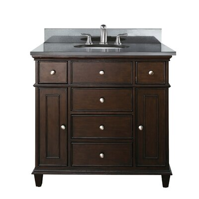 Chippewa 37 Bathroom Vanity Set Base Finish: Walnut, Top Finish: Black Granite