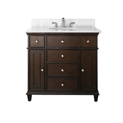 Chippewa 37 Bathroom Vanity Set Base Finish: Walnut, Top Finish: Carrera Marble