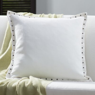 Dixmoor Stud Trim Microsuede Throw Pillow Color: Ivory