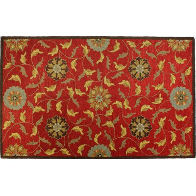 Clarkshire Red Area Rug Rug Size: 36 x 56