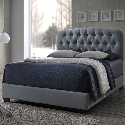 Carnegie Upholstered Panel Bed Upholstery: Grey, Size: King