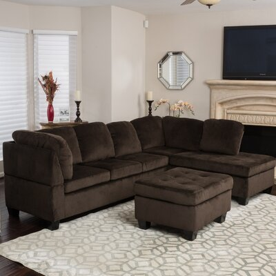 Hardin Sectional with Ottoman Upholstery: Chocolate