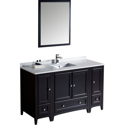 Oxford 54 Single Traditional Bathroom Vanity Set with Mirror Base Finish: Espresso