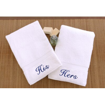 Personalized His and Hers Hand Towel Font Color: Blue