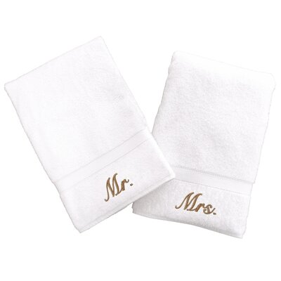 Personalized Mr. and Mrs. Hand Towel Font Color: Gold
