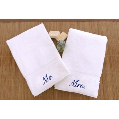 Personalized Mr. and Mrs. Hand Towel Font Color: Blue