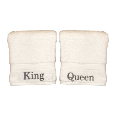 Personalized King and Queen Hand Towel Font Color: Silver