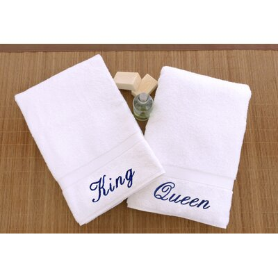 Personalized King and Queen Hand Towel Font Color: Blue